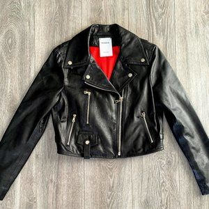Frankie Black Leather Biker Jacket
